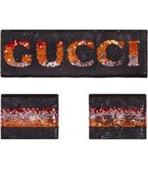 gucci sequin logo headband and wrist cuffs - black