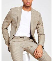 river island mens ecru stripe super skinny fit suit jacket