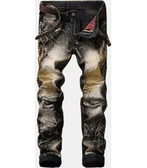 fashion 3d eagle wings knee ripped leopard printed jeans per uomo
