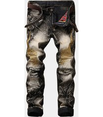 fashion 3d eagle wings knee ripped leopard stampato jeans per uomo