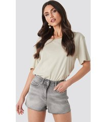 na-kd raw hem high waist shorts - grey