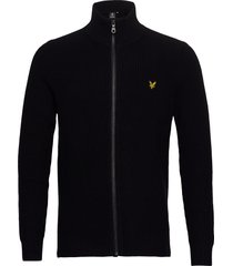 knitted rib zip through cardigan gebreide trui cardigan zwart lyle & scott