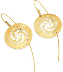 stefano patriarchi designer earrings, golden silver etched crop circle round drop earrings