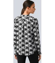 blus alba moda vit::svart