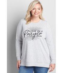 lane bryant women's livin' on a prayer sweatshirt 18/20 heather gray