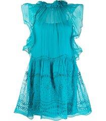 alberta ferretti broderie anglaise short dress - blue