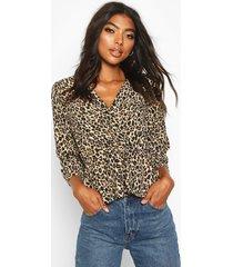 tall leopard print wrap peplum blouse, brown