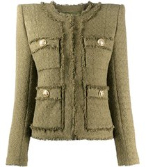 balmain frayed cropped tweed jacket - green