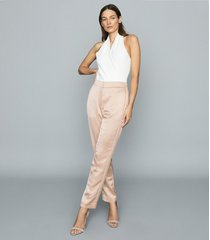 reiss savannah - satin straight-leg trousers in pale pink, womens, size 12