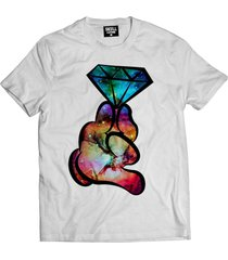 camiseta manga curta skull clothing diamante galaxy branco - branco - masculino - algodã£o - dafiti