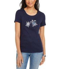 karen scott cotton embellished sea turtle top, created for macy's