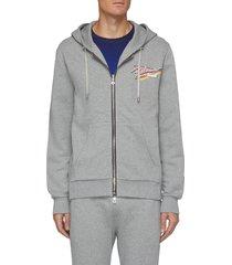 retro logo print zip up hoodie