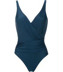 lygia & nanny maisa draped swimsuit - blue