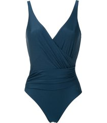 lygia & nanny maisa draped swimsuit - blue