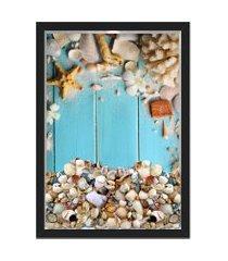 quadro caixa 33x43  porta conchas nerderia e lojaria conchas azul preto