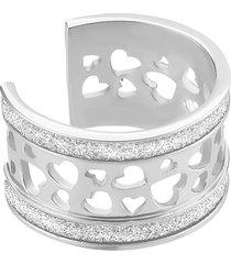 anello cuori in acciaio rodiato e lurex per donna