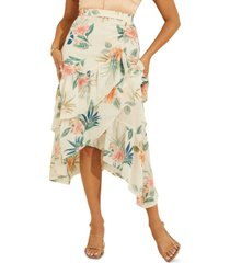 guess maritza floral-print faux-wrap ruffled skirt