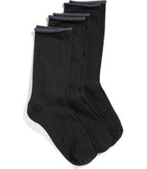 women's hue jeans 3-pack crew socks, size one size - black