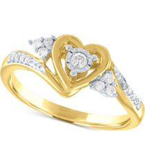 diamond heart promise ring (1/6 ct. t.w.) in 14k gold over sterling silver
