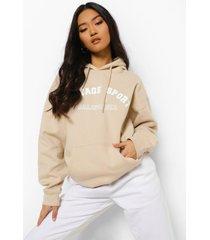 petite oversized vintage hoodie met streep, sand