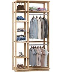 closet guarda roupa 2 cabideiros carvalho mel lilies móveis