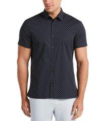 men's geometric floral print stretch short sleeve button - down shirt