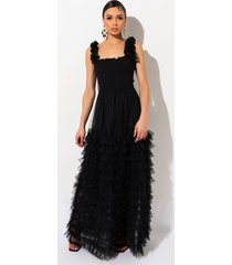 akira sure thang tulle maxi dress