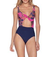 women's maaji blueberry sherbet reversible one-piece swimsuit