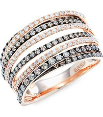 14k rose gold white & espresso diamond multi-band ring