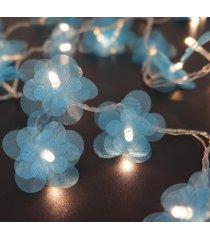 cordão de luz - luz de fada crie casa organza flower azul