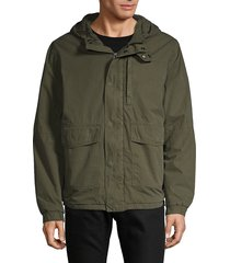 french connection men's hooded cotton jacket - smoke green - size l
