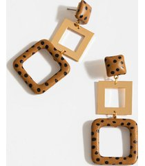 addie dotted leather earrings - brown