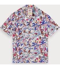 scotch & soda unisex 100% zijden overhemd met print | keoni