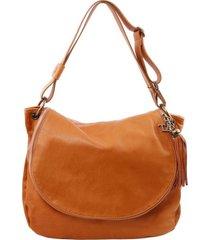 tuscany leather tl141110 tl bag - borsa morbida a tracolla con nappa cognac