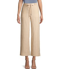lafayette 148 new york women's columbus linen cropped pants - melba melange - size l