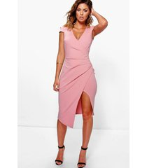 cap sleeve wrap midi dress, blush