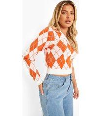 gebreide mouwloze asymmetrische trui, orange