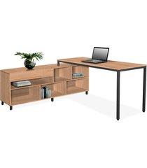 conjunto de mesa de 1,60 c/ armário lateral 1,60 direito castanho giobel marrom