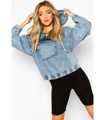 hooded acid wash pull over jean jacket, light blue