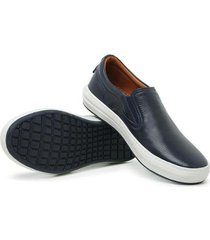 sapatênis slip on masculino couro leve confortável moderno - masculino