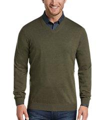 joseph abboud olive v-neck merino wool sweater