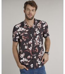 camisa masculina tradicional estampada floral manga curta chumbo