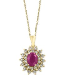 amore by effy certified ruby (1-3/8 ct. t.w.) and diamond (3/4 ct. t.w.) pendant necklace in 14k gold, created for macy's