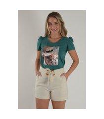 blusa mamorena t-shirt manga bufante verde