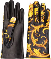 versace barocco print gloves - black