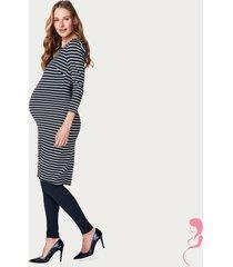 noppies zwangerschapsjurk positiejurk 3/4 mouw marinestreep