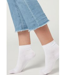 calzedonia extra short flat-knit bandless cotton socks woman white size tu