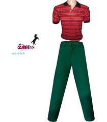 conjunto camiseta polo y pantalón de drill