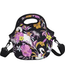 lancheira bolsa térmica marmita fitness lfante floral dark - 30 cm altura x 30 cm comprimento x 18 cm largura