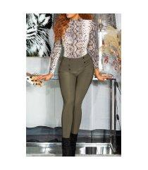 sexy hoge taille broek/leggings met decoratieve knopen khaki